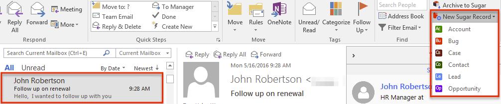 归档电子邮件NewSugarRecord 2.2.x