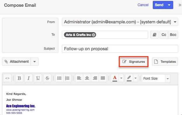 Emails ComposeEmail Signatures