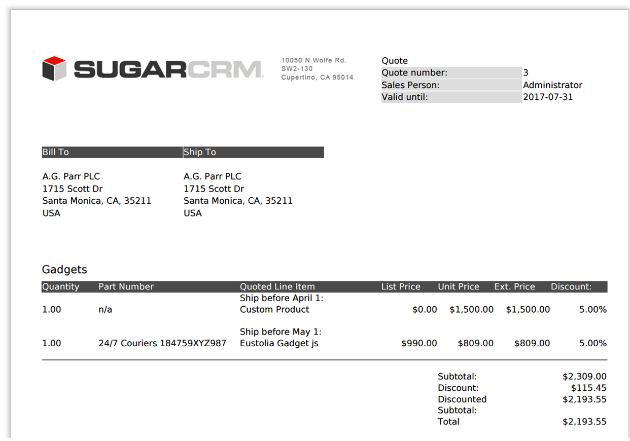 Shipping Quote Quotes  Sugarcrm Support Site