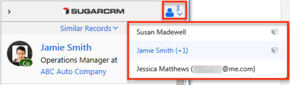 联系人侧面板电子邮件联系人下拉列表