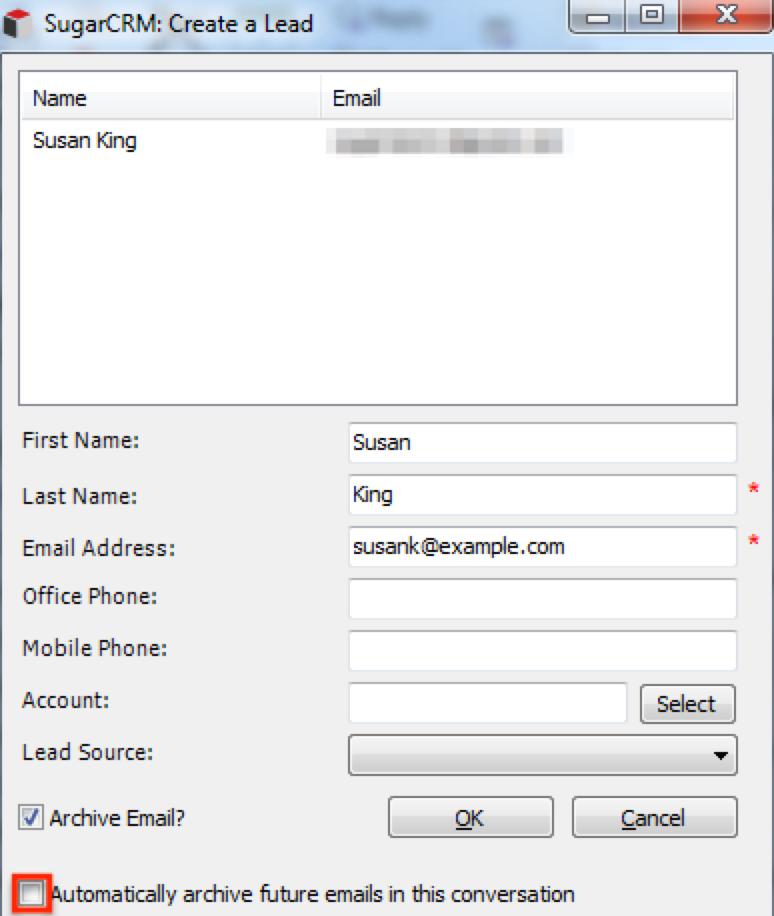 存档CreateSugarLead AutoArchiveFuture电子邮件