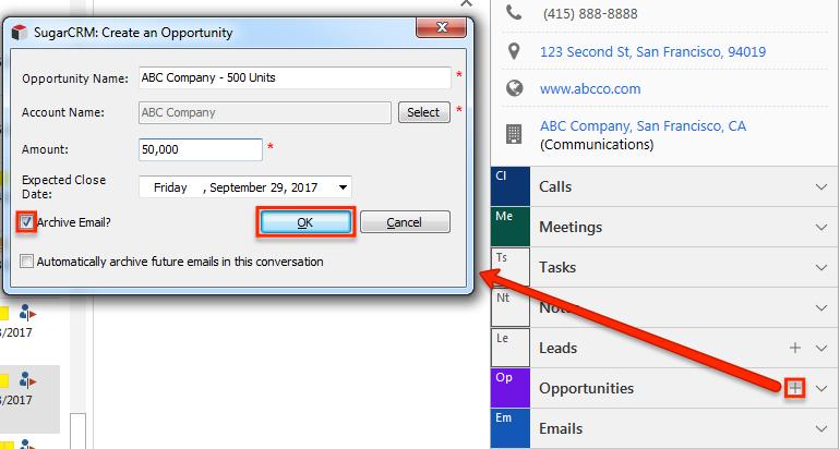 邮件SidePanel OpportunitiesSubpanel创建